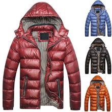 Зима мужчины однотонный цвет с капюшоном длинный рукав молния вверх карман пух куртка стеганое пальто