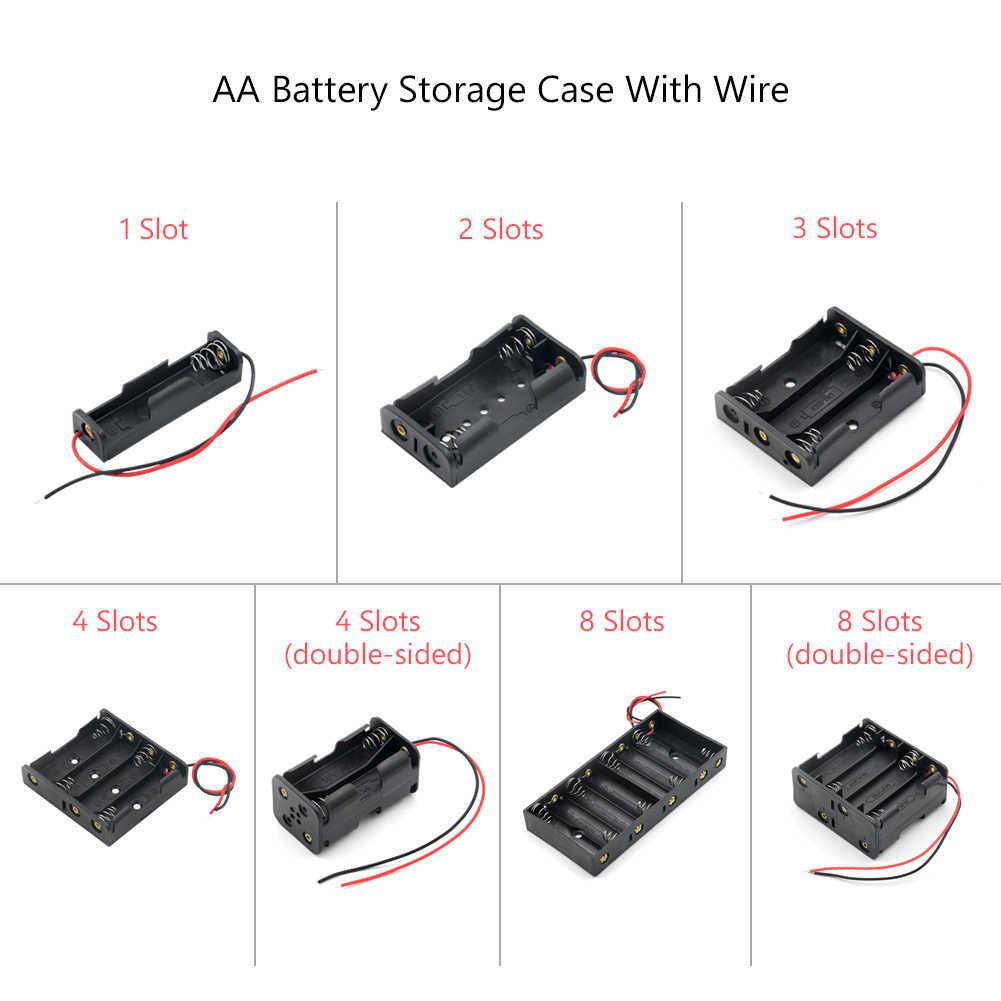 2020 nowy 1 2 3 4 8 slotów etui na baterie AA Box AA LR6 HR6 uchwyt baterii futerał do przechowywania z przewód zasilający Bateria ochrony pojemnik