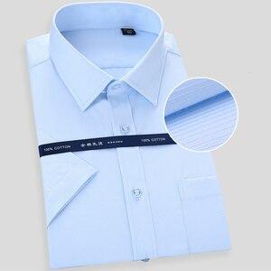 Image 3 - Camisa social masculina de manga curta, alta qualidade, não ferro, branco, azul, casual, social, tamanho grande 6xl 7xl 8xl