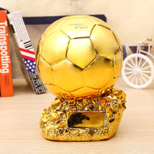 Football Match Soccer Fans Souvenir GOLD BALL Trophy Creative resin Craft Gold Plating Home Furnishing Articles decoration model