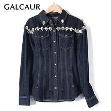 Женская джинсовая куртка с отворотом galcaur голубая свободная