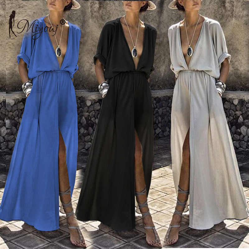 Miyouj Sexy Deep V Neck Beach Cover Up Tengah Lengan Maxi Dress Wanita Baju Musim Panas Pantai Gaun PLUS ukuran Beachwear