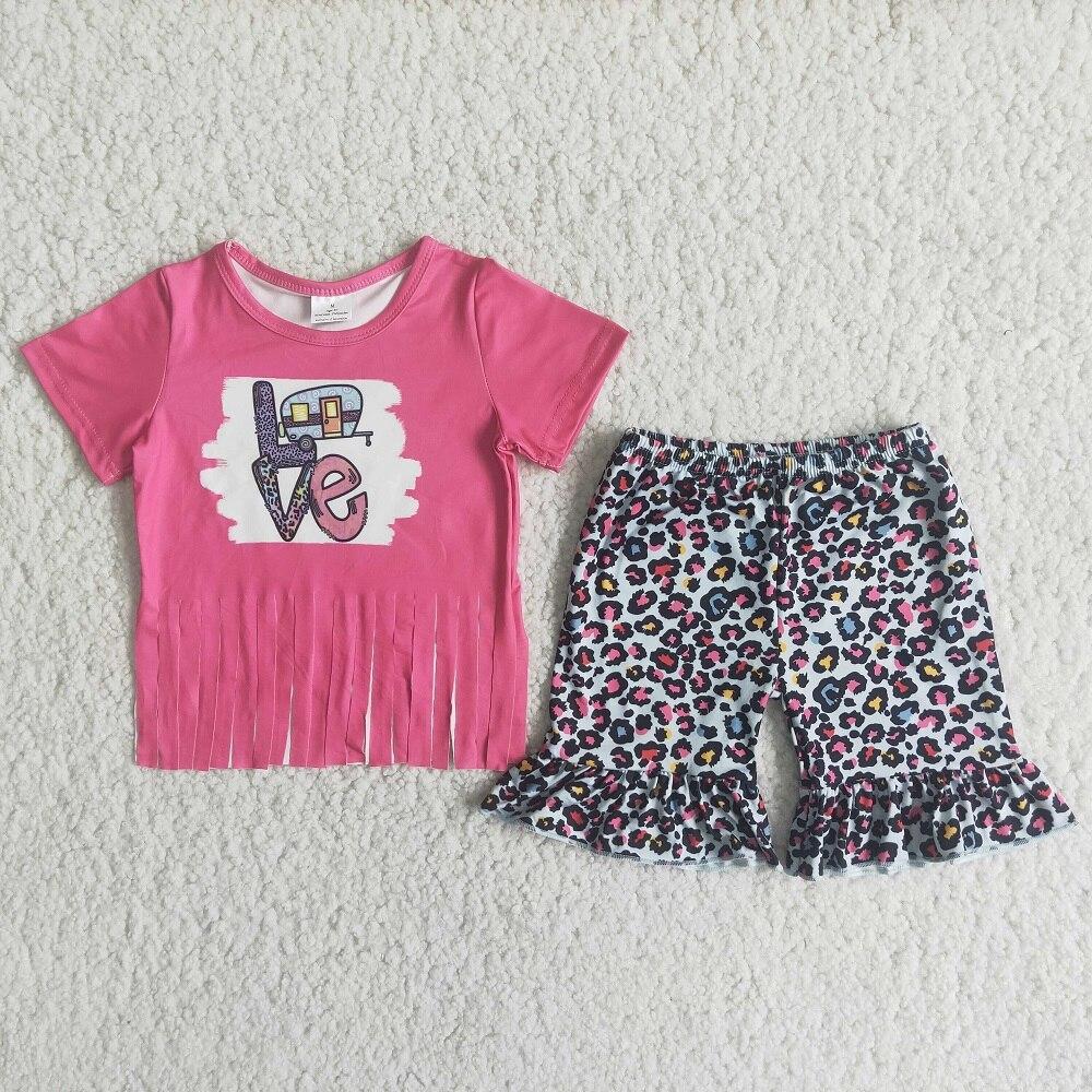 Ladies Womens Short Sleeve Leopard Printed Loungewear Tracksuit Set Short Tops