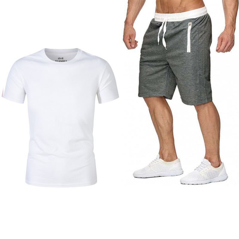 Men Summer Tracksuit Men Casual Brand Tee Shirts 2019New Fashion Sportsuit And Tee Shirt Set Mens T Shirt Shorts + Short Pants