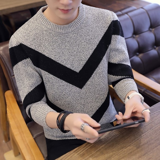 Korea Grey Sweaters And Pullovers Men Long Sleeve Knitted Sweater High Quality Winter Pullovers Homme Warm Navy Coat 3xl Newest 2