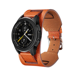 Image 2 - Cross Grain Genuine Leather Watchband For Samsung Galaxy Watch 3 41mm/42mm/Active 2 1 40mm 44mmm Universal Bracelet 20MM Strap