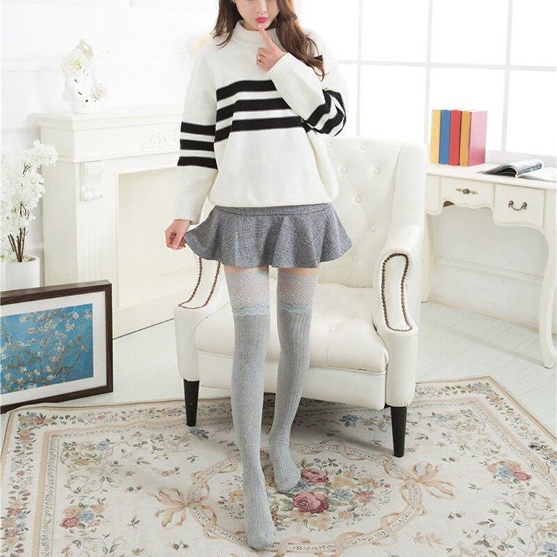 Модные женские гетры; элегантные кружевные чулки для девочек; милые высокие носки для девочек; женские длинные гольфы для женщин