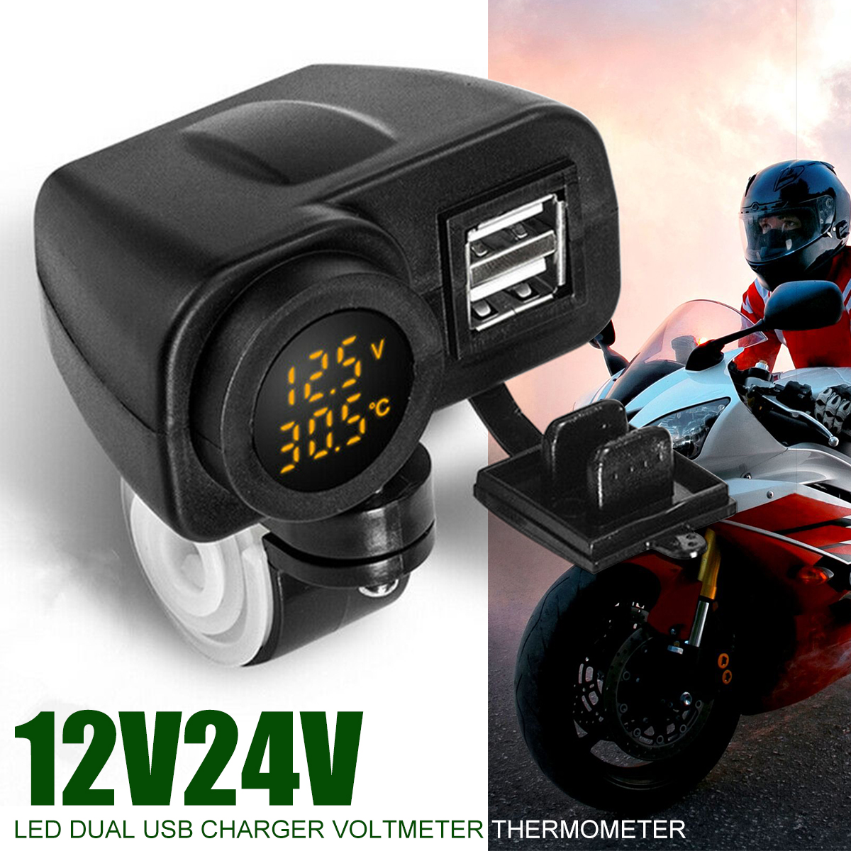 1pc Motorcycle USB Charger For Moto 2.1A 5V Motorcycle Charger With Voltmeter Yellow LED Display Thermometer