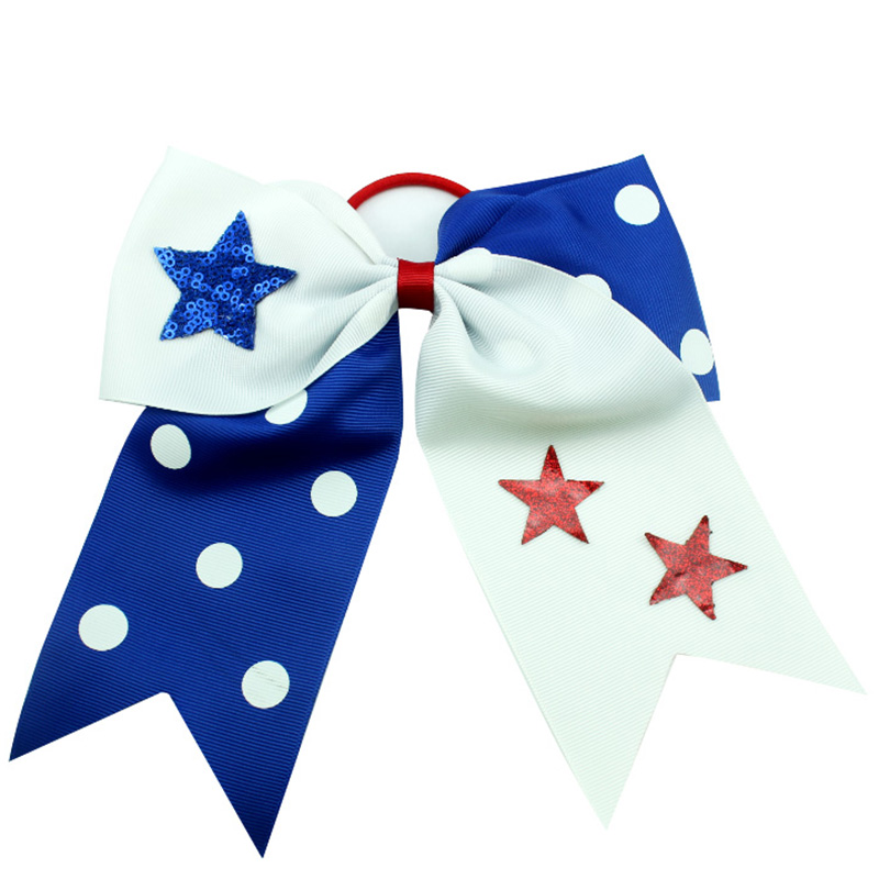 Adogirl Boutique National Flag Star Print Cheerleading Hair Bows Elastic Bands Girl Handmade Accessories Scrunchie