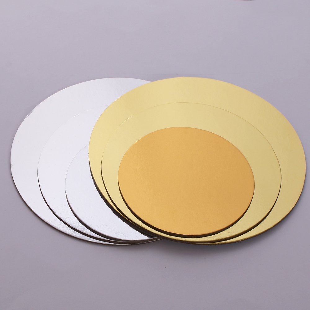 5Pcs 6/8/10 Inch Gold Silver Round Cake Board Circle Base Cupcakes Stand Paper Cases Liners Party Pastry Baking Mat Decorations