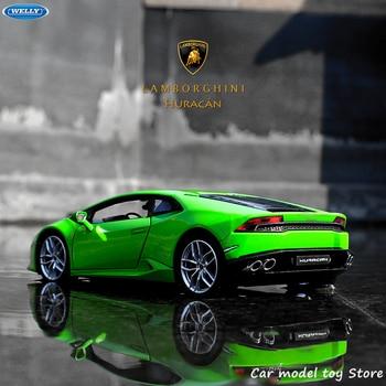 цена на WELLY 1:24 Lamborghini Aventador LP610-4 sports car simulation alloy car model crafts decoration collection toy tools gift