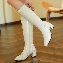 Botas de charol de cuero hasta la rodilla para mujer, botas cómodas de tacón grueso con cremallera lateral, color negro, rojo y blanco para invierno