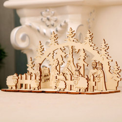 DIY Christmas Wooden Toy Xmas Funny Party Desktop Decoration Christmas Wooden Ornaments Three-dimensional Kids Toy Decoration 2