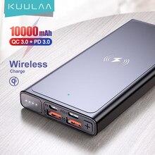 Kuulaa power bank 10000mah carregador sem fio carregador portátil poverbank de carregamento sem fio para iphone 12 11 pro max samsung xiaomi