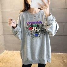 все цены на Autumn Thin Women Pullover Sweatshirt Casual Loose Cartoon Mickey Plus Size Hoodies Long Sleeve Drop-shoulder Harajuku Sport Top онлайн