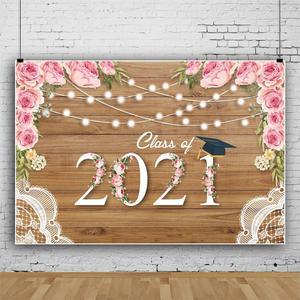 Image 3 - 2021 כיתת סיום עונה הראשון שווי רקע לצילום Congratul מסיבת עץ לוח פרח תמונה רקע שיחת וידאו