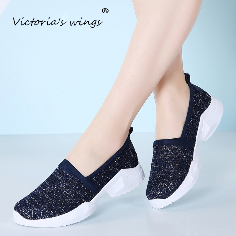 Promo Victoria's wings Women's flat shoes 2020 autumn slip-on slippers fashion mesh sneakers lightweight walking shoes ladies shoes