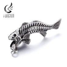 Подвеска fongten в виде рыбьей кости Мужская винтажная из нержавеющей