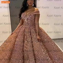 Wedding-Dresses Robe-De-Mariee Dubai Sweetheart Long Luxury Sequined Lace-Up Arabic Custom-Made