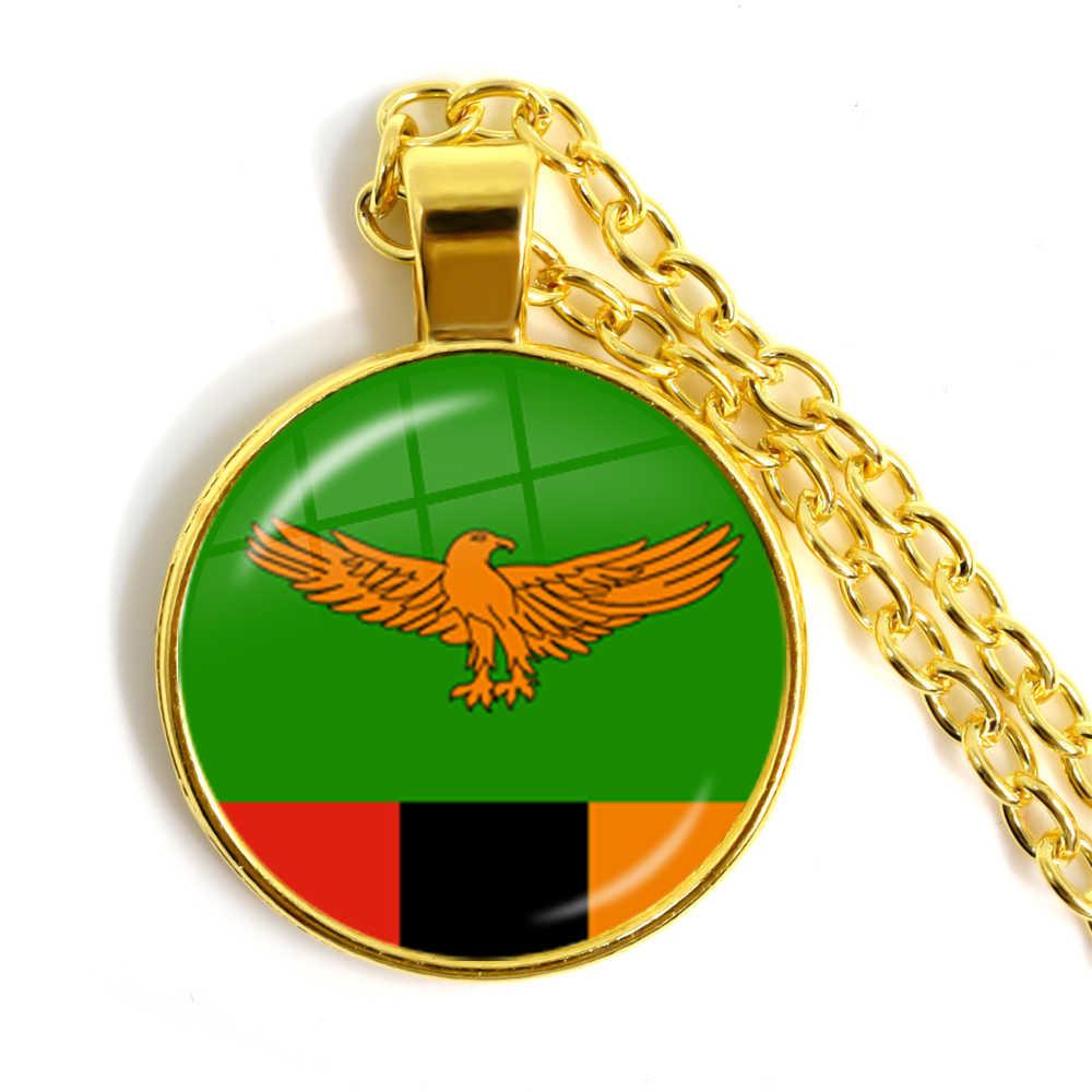 Malta Zambia Zimbabwe łotwa Armenia azerbejdżan Arabia saudyjska zea maroko flaga narodowa wisiorek ze szklanym kaboszonem naszyjnik biżuteria