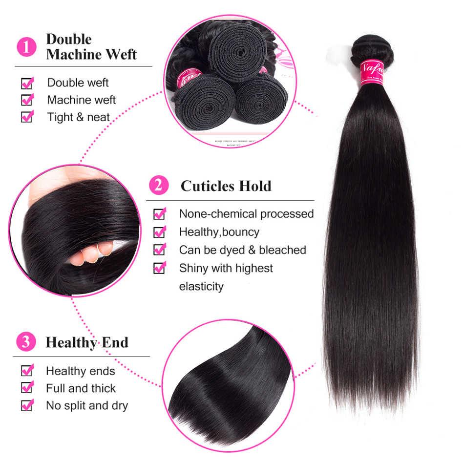 NAFUN Hair Bundles Straight Weave Brazilian Human Hair Bundles With Closure 8-30 Inch Bundles Human Hair Bundles Non Remy Hair