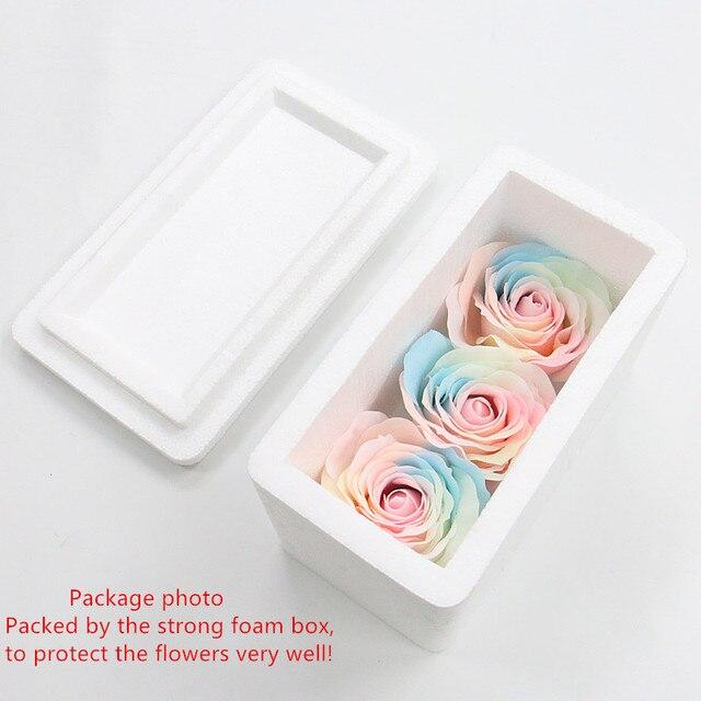 Savon en forme de roses colorées, 8cm, 9 pièces, tête de fleur, tête de fleur éternelle, arc-en-ciel, pour Bouquet, boîte cadeau, matériel fait à la main