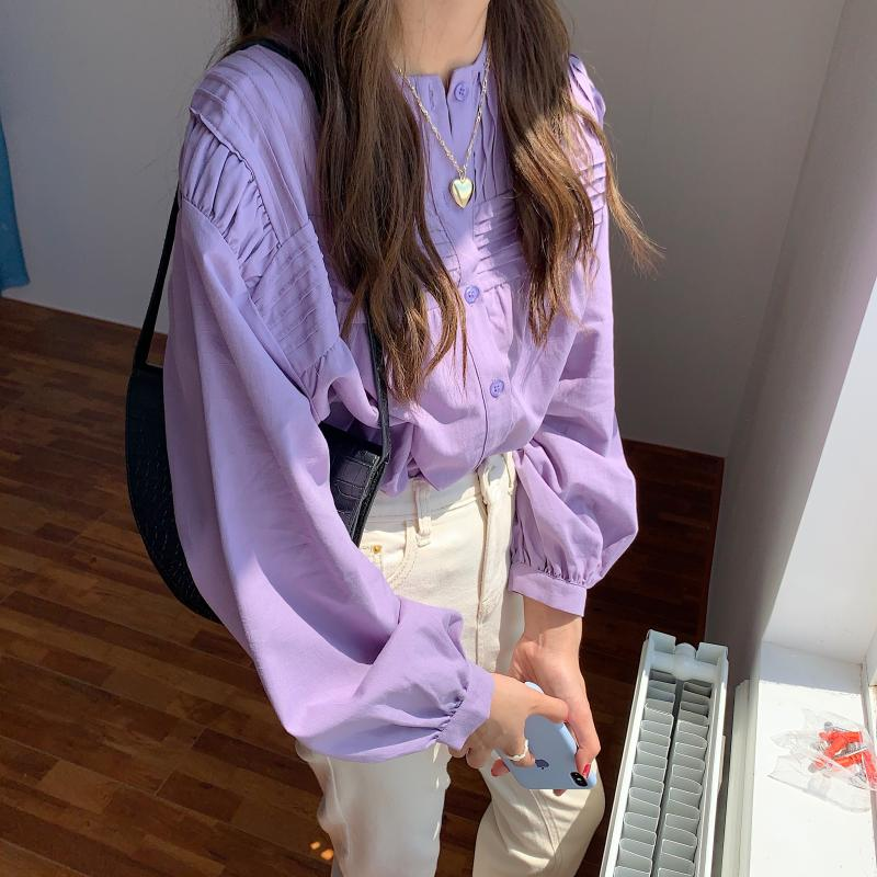 H6986b10c7bd2474a93995e16265887f7Y - Spring / Autumn Korean O-Neck Long Sleeves Pleated Solid Buttons Blouse