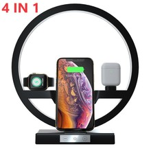 4 in 1 QI Fast Wireless Charger Dock Station for Airpods iPhone 11 Pro Max Apple Watch 1 2 3 4 5 Charging Dock Holder LED Lamp