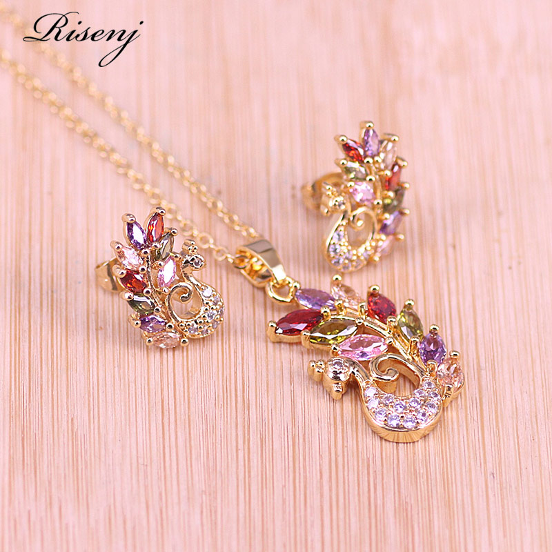 Risenj Colorful peacock and white peacock Square With Top Zircon 18K Gold Jewelry Stud Earrings Necklace Set Free Shipping