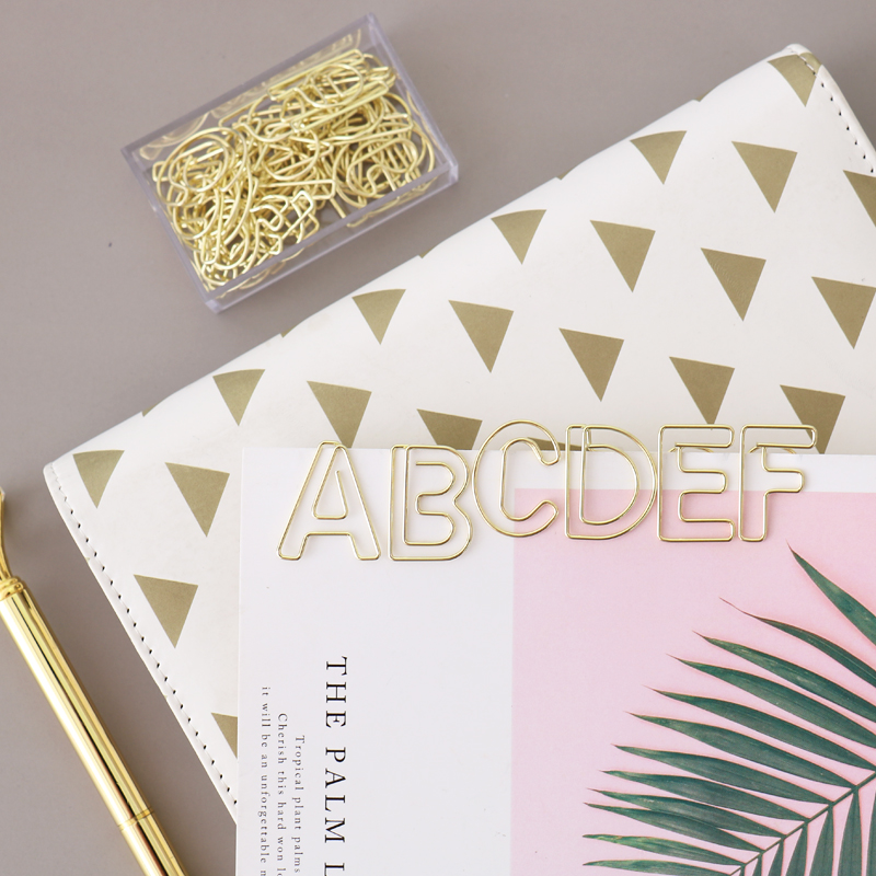 TUTU 10pcs/box Letter Shape Gold Paper Clips Kawaii Stationery Letter Binder Clips Photos Tickets Notes Letter Paper Clip H0280