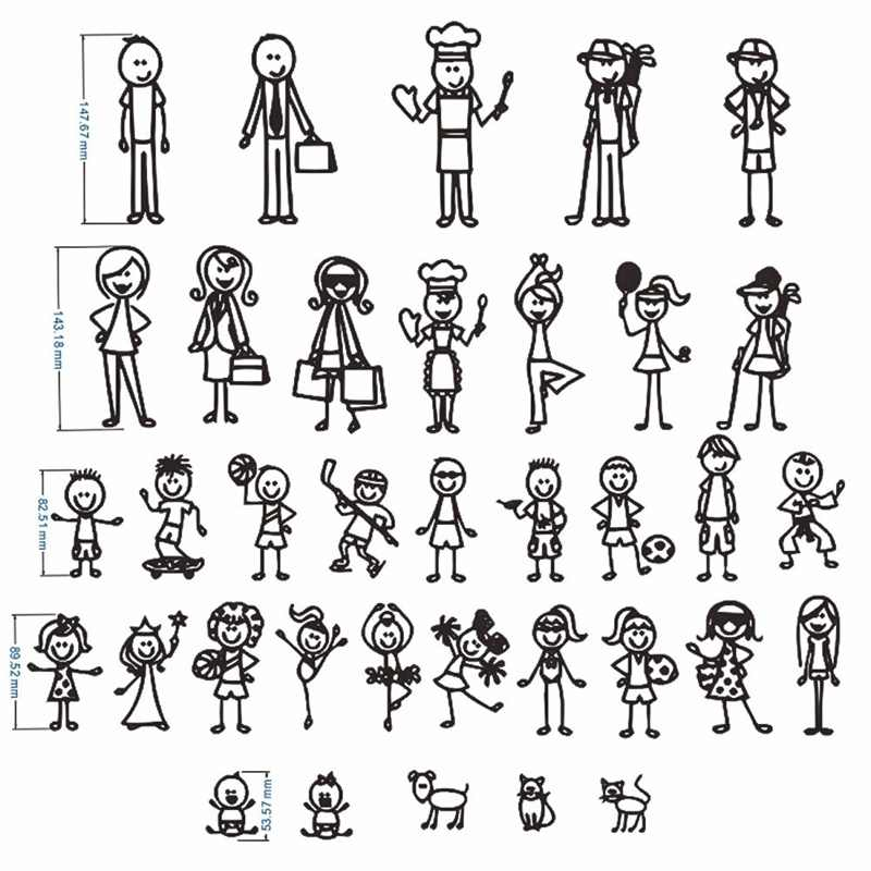 1PC Personalized Stick Figure Family Car Stickers Interesting Motorcycle Vinyl Decals Black/Silver Style Random