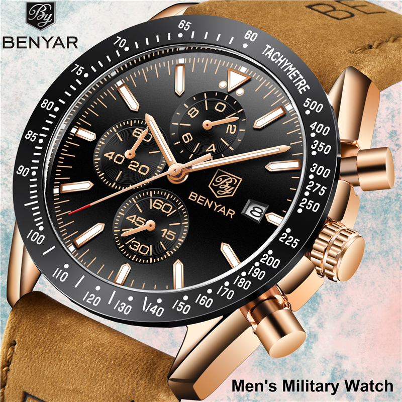 Men's Watches Benyar Fashion Quartz Men Watch Waterproof Military Sport Clock Man Casual Leather Chronograph Relogio Masculino