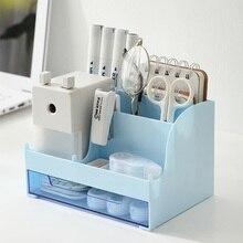 Large Capacity Desk Accessories Pen Holder with Drawer. Pencil Storage Box Desktop Organizer School Office Stationery