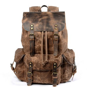 New Casual College Students Backpack Retro Backbag Drawstring Men Oil Wax Canvas and Genuine Leather Bag Vintage Travel Backpack
