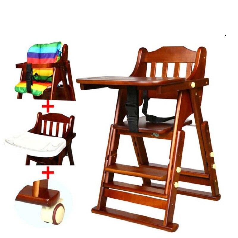 Per bambini da pranzo sedia multifunzionale in legno massello regolabile portatile pieghevole bambino mangia sedia da tavolo per bambini sgabello