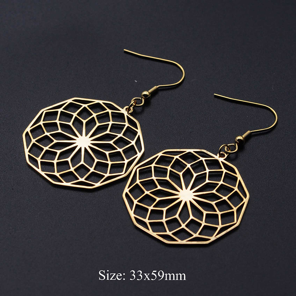 100% Stainless Steel Fashion Geometric Lotus Earring for Women Wholesale Top Quality Birthday Gift Party Jewelry Earrings
