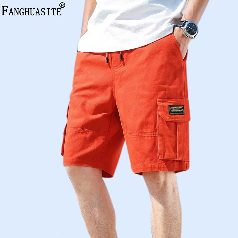2019 Men Summer Hip Hop Harem Shorts Knee Length Streetwear Shorts Mens Big Pockets Cotton Black Cargo Shorts Plus Size 5XL FB15