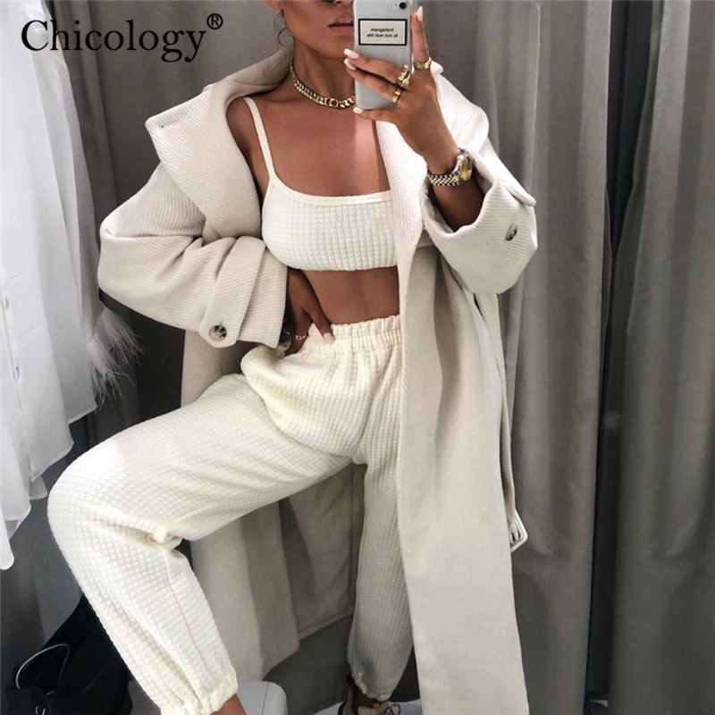 Chicology Plaid High Waist Long Pants Loose Cargo Trousers Women 2019 Autumn Winter Casual Sweat Clothes Baggy Lady Streetwear