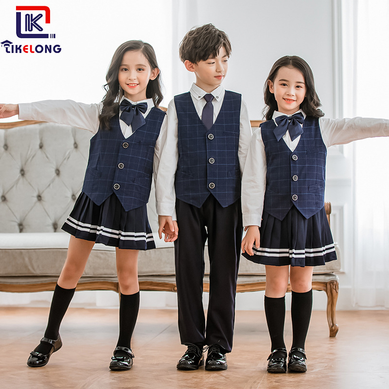 Korea Can Long New Style Spring And Autumn Young STUDENT'S School Uniform British Style Waistcoat Three-piece Set Kindergarten S