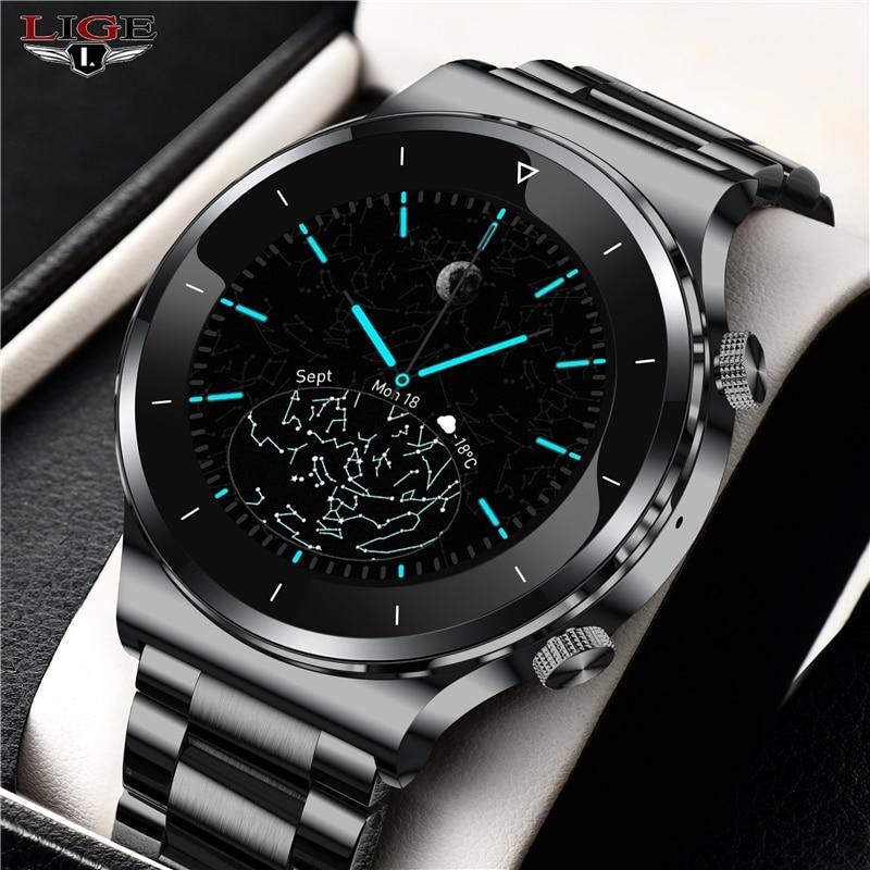 Lige 2021 nova marca de luxo dos homens relógios banda aço relógio fitness freqüência cardíaca pressão arterial atividade rastreador relógio inteligente para homem