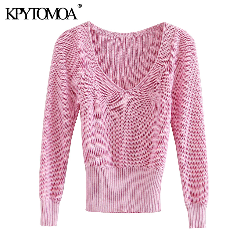 KPYTOMOA Women 2020 Fashion Ribbed Trims Cropped Knitted Sweater Vintage V Neck Three Quarter Sleeve Female Pullovers Chic Tops