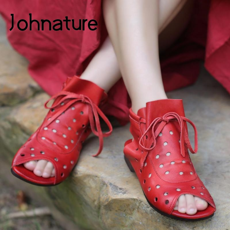 Johnature/женские ботинки из натуральной кожи; Новинка 2020 года; Женские ботильоны ручной работы на шнуровке с круглым носком на плоской подошве; Сезон лето осень|Полусапожки|   | АлиЭкспресс