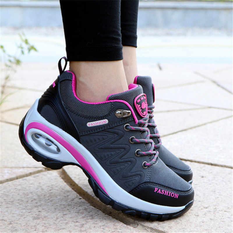 Sneakers takozlar zapatos de mujer ayakkabı kadın deri süet marka spor ayakkabı kadın kaymaz hava sönümleme tenis feminino sepeti femme