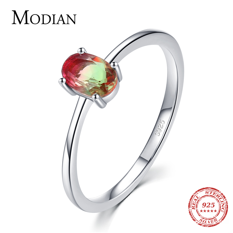 Modian 925 en argent Sterling coloré pastèque Tourmaline anneaux pour les femmes mode bande de doigt Fine bijoux Style coréen Anel