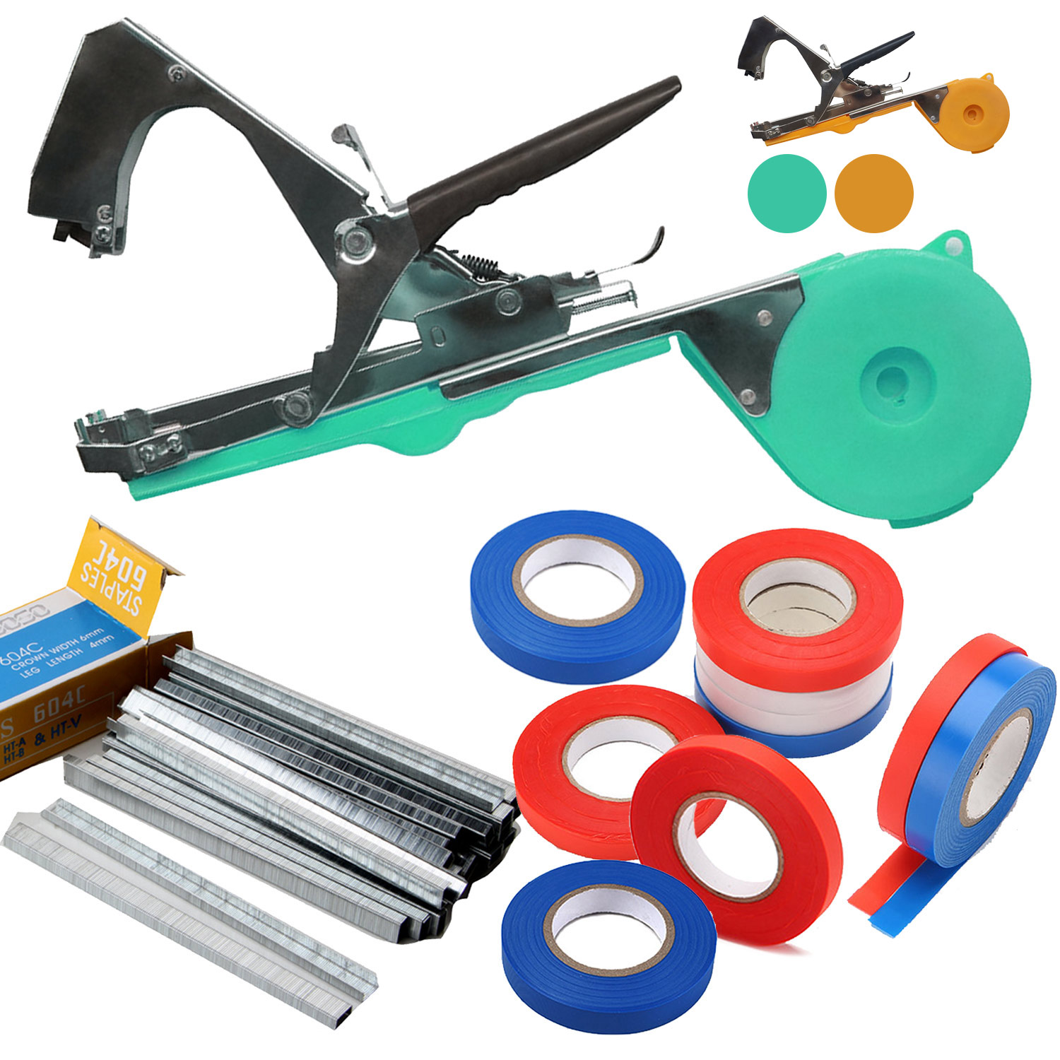 Garden Plant Hand Tying Machine + 10 Rolls Plant Branch Tie Tape + 1 Box Staple For Plant Tying Machine Accessories