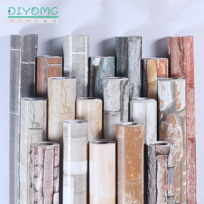 Modern 3D PVC Brick Stone Self Adhesive Wallpaper Rustic Effect Bathroom Waterproof Wall Stickers Non-slip Design Contact Paper