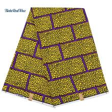 6 yard Polyester Ankara Fabric For Women Dress Plaid Gold yellow African Wax Prints Bintareal FP6148