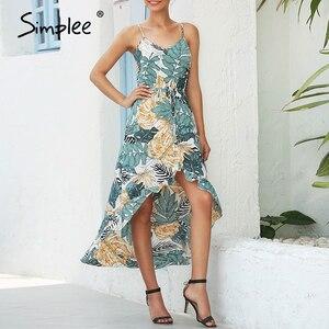 Image 3 - Simplee seksi çiçek baskı kadın elbise kolsuz yüksek bel bodycon yaz elbisesi rahat bayanlar kayış ruffled boho plaj elbise