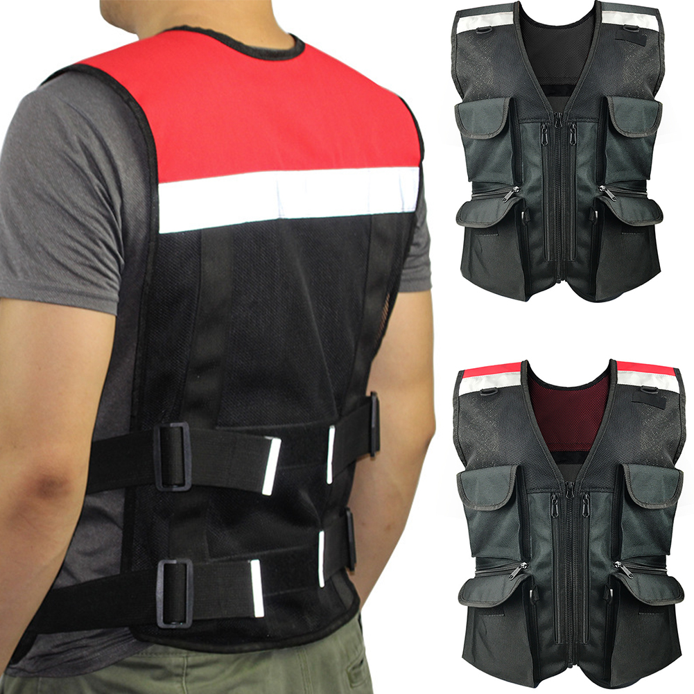 Men Women Soft Outdoor Sports Oxford Cloth Cycling Climbing Motorcycle Apparel Night Warning Reflective Safety Vest with Pocket
