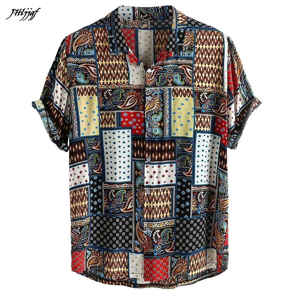 Summer Shirts Men Vintage Ethnic Style Tie Dye Short Sleeve Casual Cotton Linen Printing Shirt Blouse Mens Beach Shirt 3XL